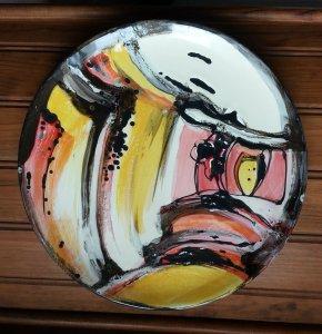 plat faïence peint avec émaux paysage en traits mixtes